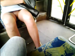 Dude is on the bus and films girl with no panties on