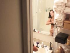 Slim amateur nude shower