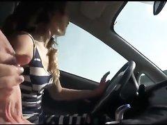 Blowjob and handjob while driving