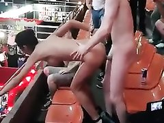 Exhibitionists have a hardcore sex in public