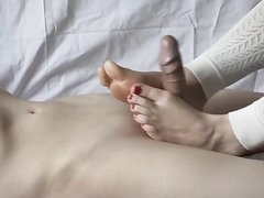 Footjob for a big cock