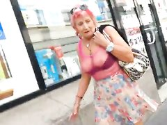 Granny in see thru top
