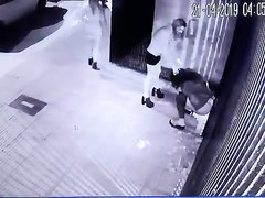 Street peeing on security cam