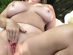 Busty mom getting herself off