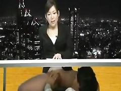 Japanese newsgirl gets her pussy eaten on air