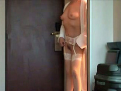 My wife answers the door with tits and pussy out