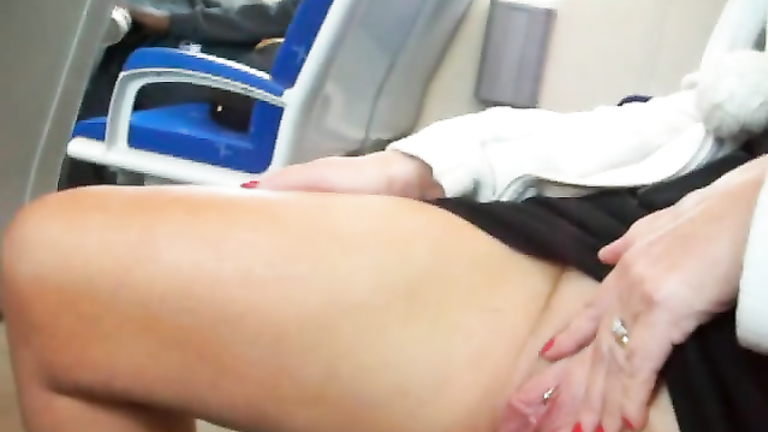 Mature woman horny hand crotch
