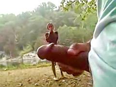 Masturbating hard cock on the public running trail