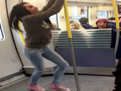 Wild teen girl pees on the train platform