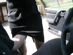 Fingering my wife up her skirt outdoors
