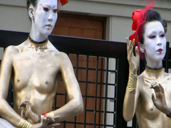 Body painted Japanese girls in outdoor art