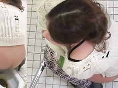 Japanese girls poop in public toilets