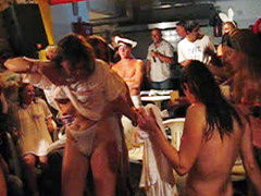 Public topless dancing with British party chicks