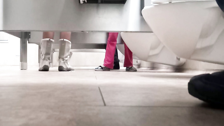 Foot fetish cam in the public lavatory
