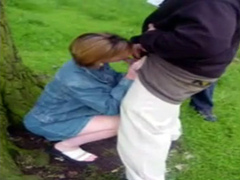Two friends cum on a cocksucking milf outdoors