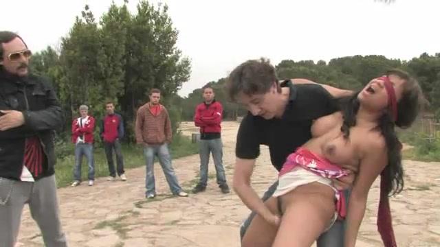 Hot naked slavegirl public