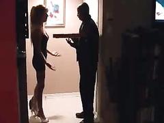 Desperate wife seduces the black delivery guy