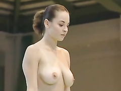 Topless gymnastics with a busty Hungarian woman