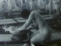 Vintage video in a nude female bathhouse