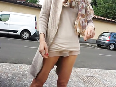 Wife in a short dress finally exposes her twat