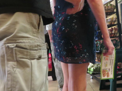 Naughty guy touching mature woman's butt in the mall