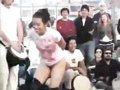 Asian lady loses her pants in public bondage