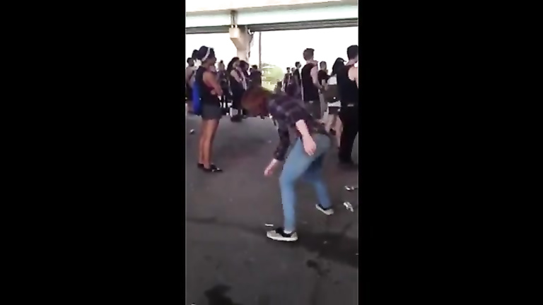 Drunk chick at an outdoor party peed her pants