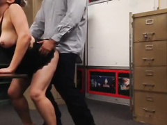 Lazy sex at work with a chubby secretary
