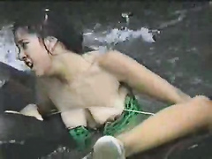 Tits pop out during a river tubing adventure