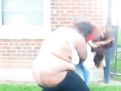 Fat ghetto grannies caught fighting outdoors