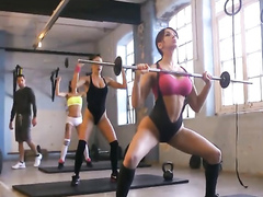 Hottest workout ever with three scantily clad girls
