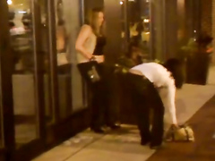 Totally trashed girl pisses on the sidewalk