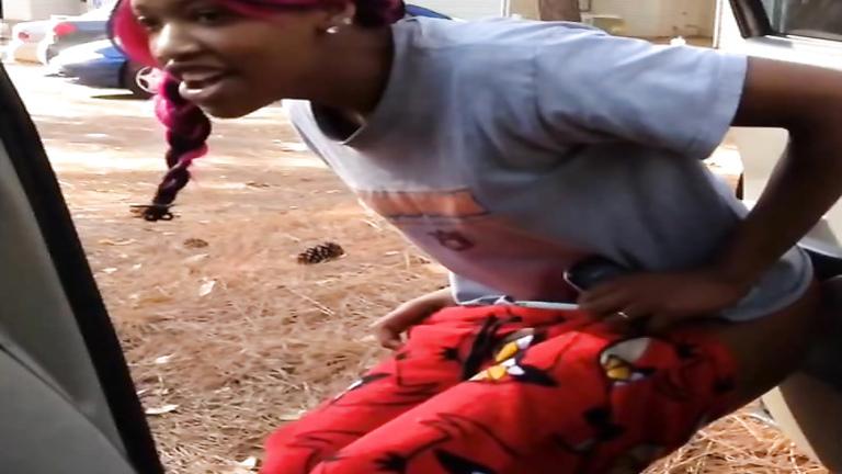 Ebony peeing in public