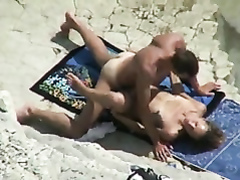 Slender babe banged on the rocky beach