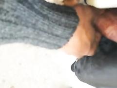 Secretly cumming on her legs in public