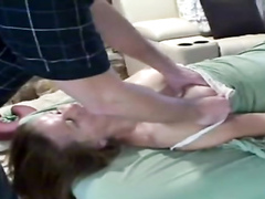 Breast massage makes his wife feel good