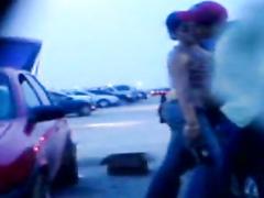Fingering his girlfriend in a parking lot