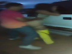 Mexican hooker banged against the car in a parking lot