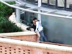 Horny college students caught having a quickie on the deck