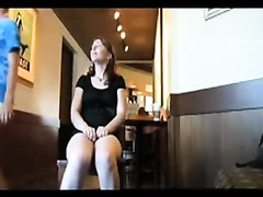 Pussy flashing beauty at the coffee shop