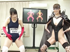 Weird Japanese fetish clip with women in spandex