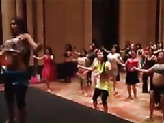 Belly dancing class with hot body women