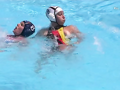Water polo player has a nipple slip in the pool