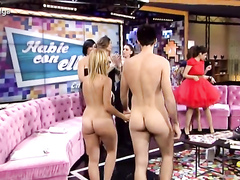 Naked couple interviewed on a chat show