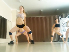 Four girls practice their twerking routine