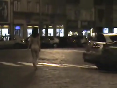 Naked evening stroll through the city streets