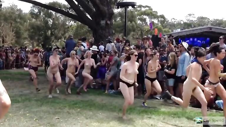 Popular nudist race footage in slow motion