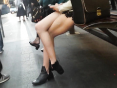 Chick on a bench has a perfect pair of legs