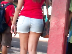Hot butts in tight pants and shorts on a day outdoors