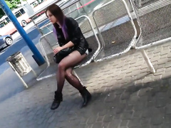 Sexy ripped pantyhose on a hot ass chick in public
